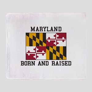 Born and Raised Maryland Throw Blanket